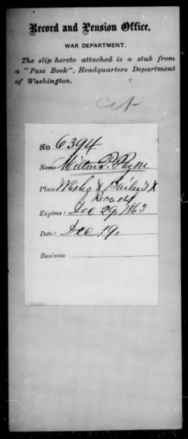 Payne, Milton P - State: District of Columbia - Year: 1863