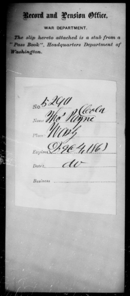 Payne, Thos - State: Washington - Year: 1863