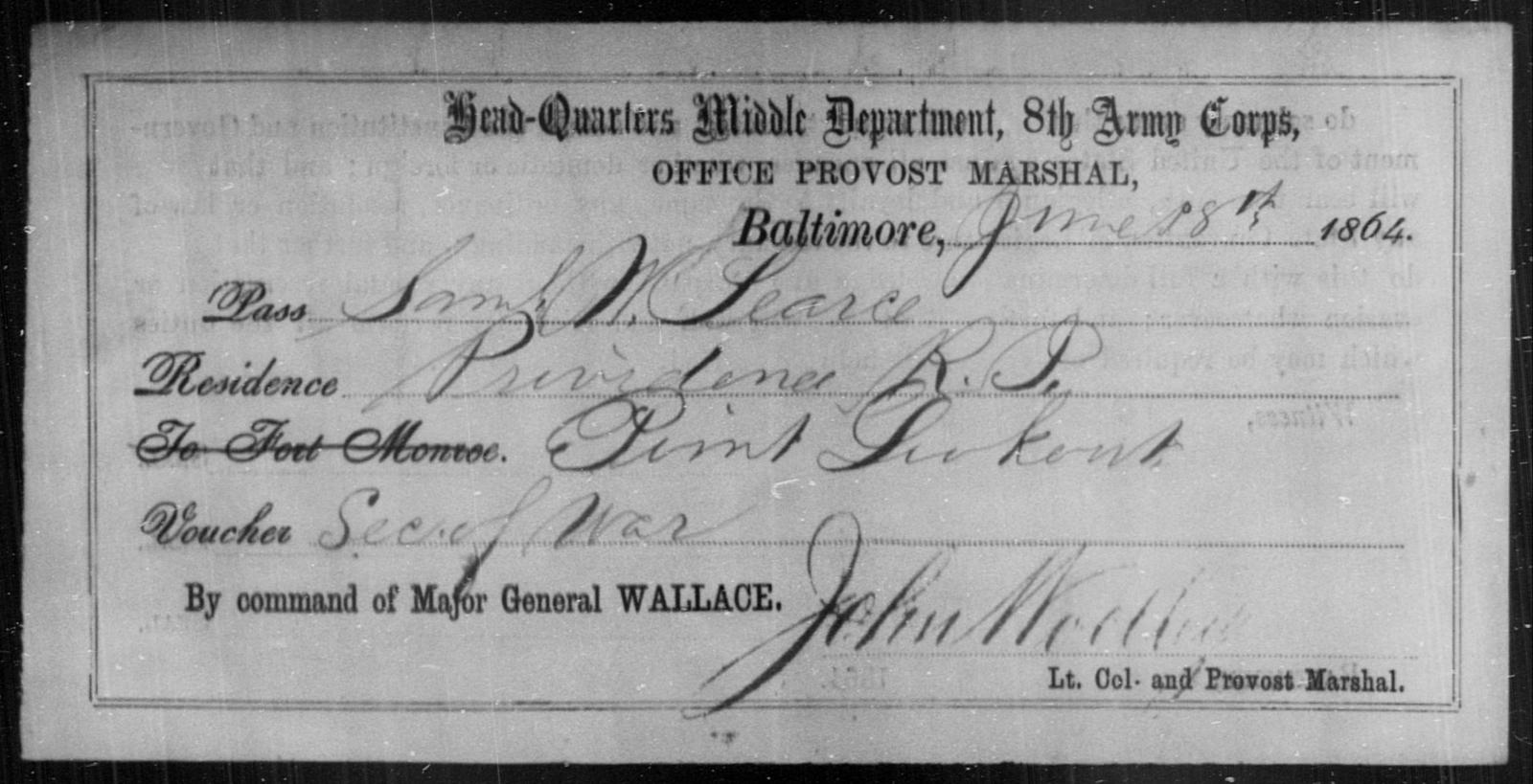 Pearce, Saml W - State: [Blank] - Year: 1864