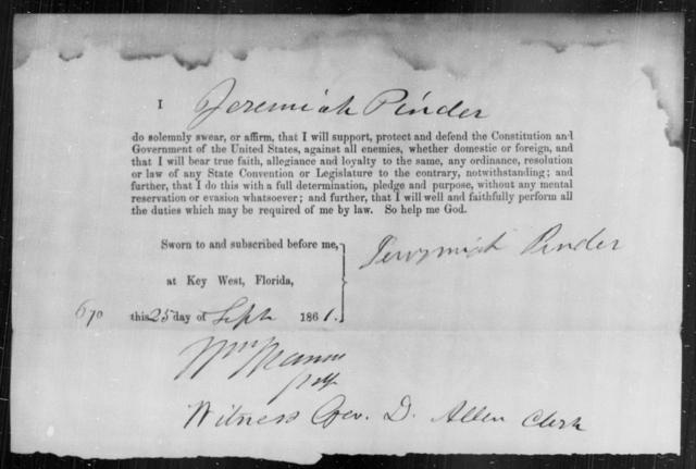 Pender, Jeremiah - State: Florida - Year: 1861