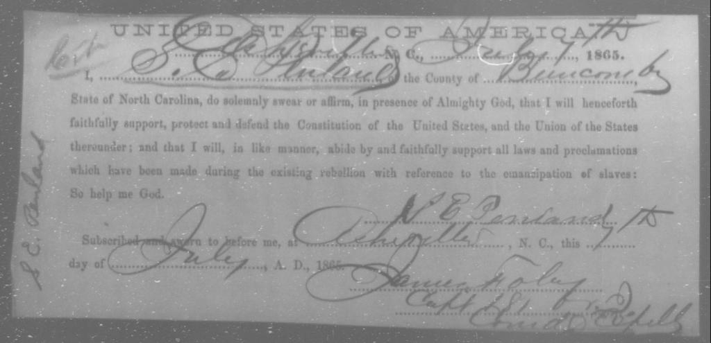 Penland, S E - State: North Carolina - Year: 1865
