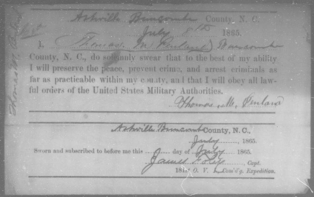Penland, Thomas M - State: North Carolina - Year: 1865