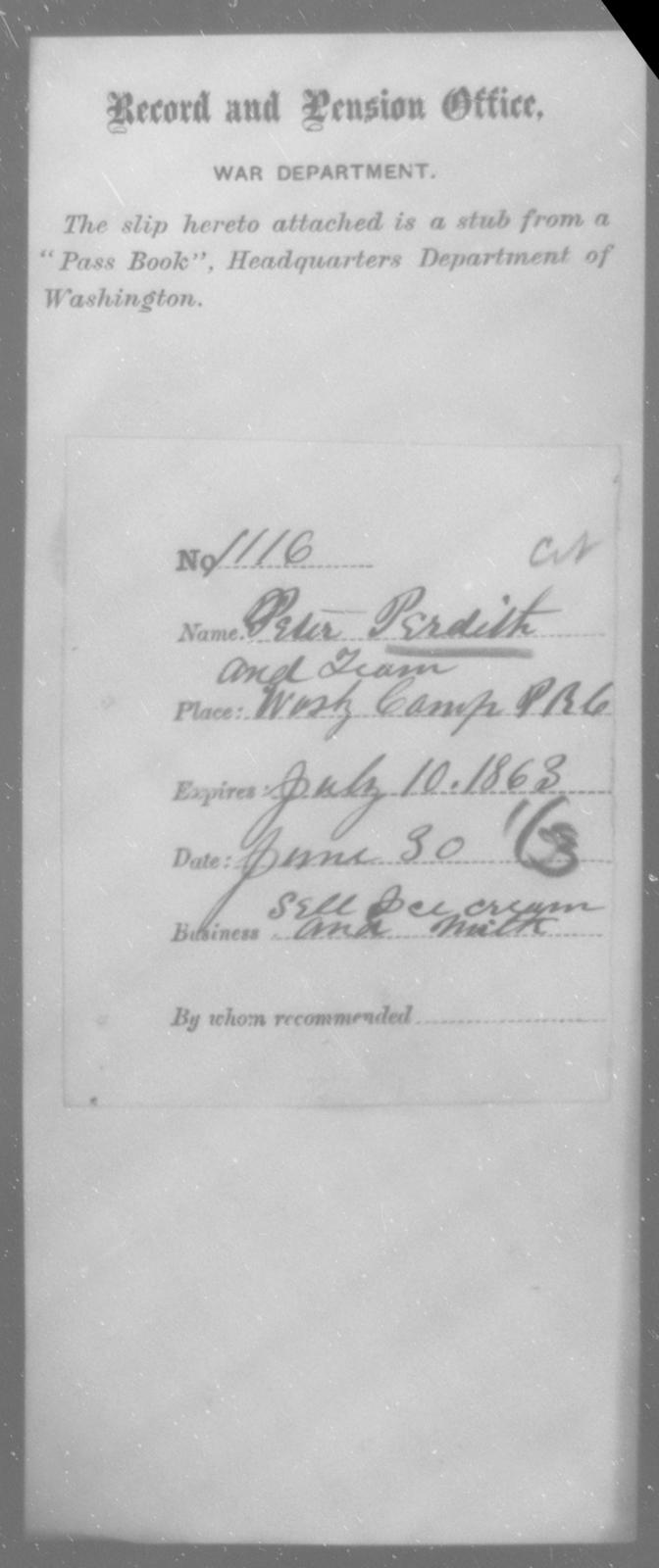 Perdith, Peter - State: Washington - Year: 1863