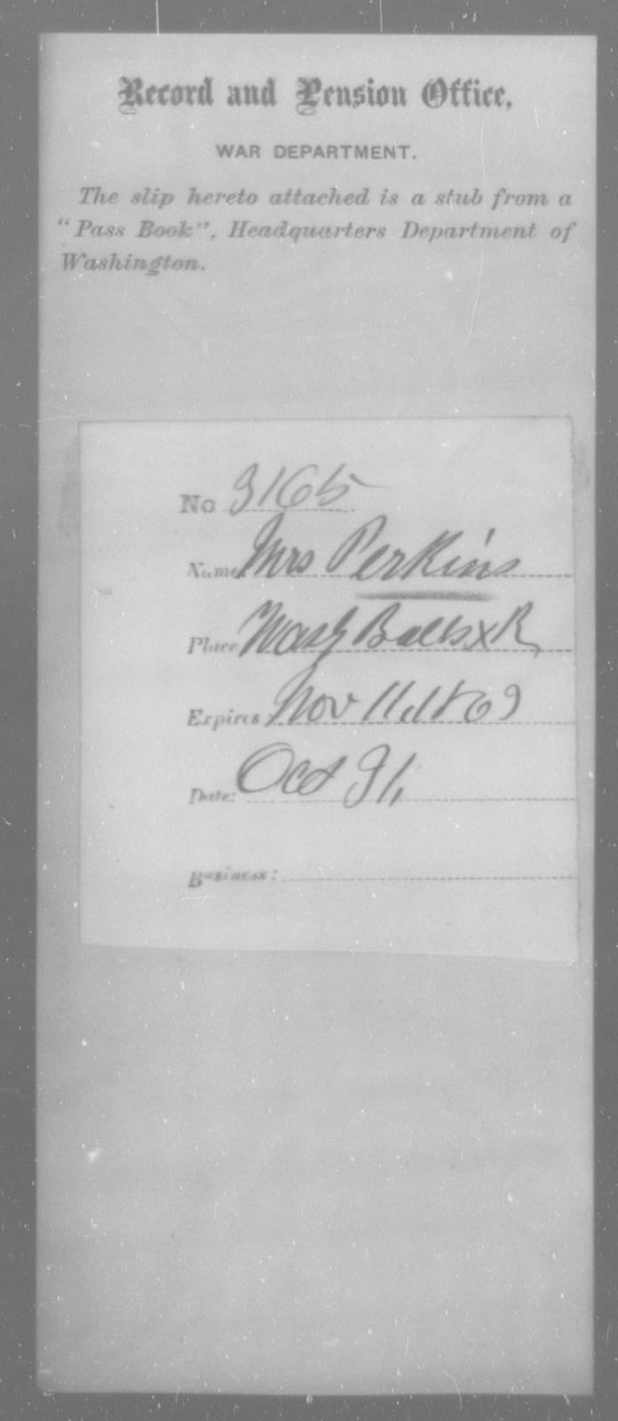 Perkins, [Blank] - State: Washington - Year: 1863