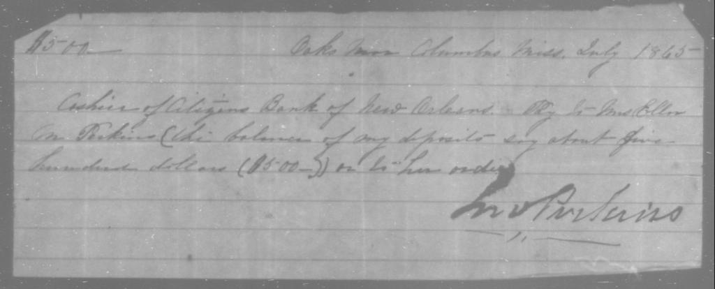 Perkins, Ellen M - State: Mississippi - Year: 1865