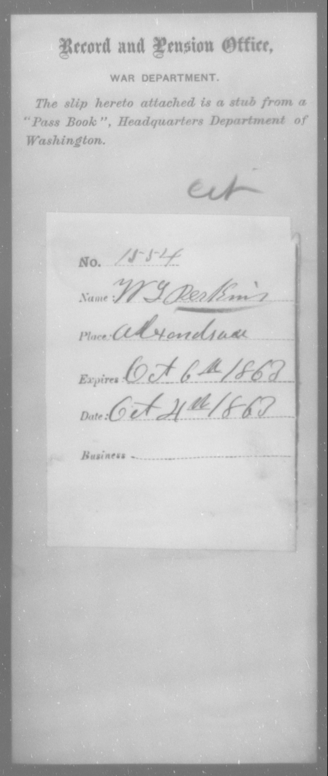 Perkins, W L - State: [Blank] - Year: 1863