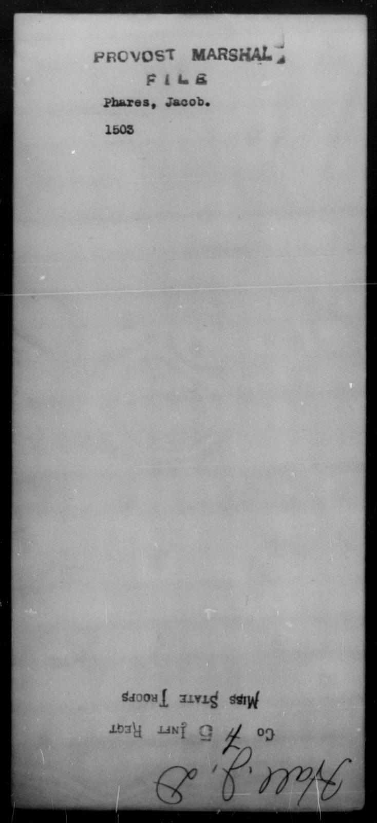 Phares, Jacob - State: [Blank] - Year: [Blank]