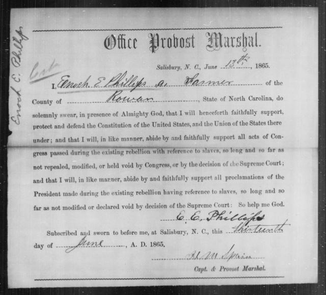 Phillips, Enoch E - State: North Carolina - Year: 1865