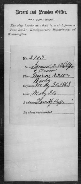 Phillips, Samuel D - State: Washington - Year: 1863