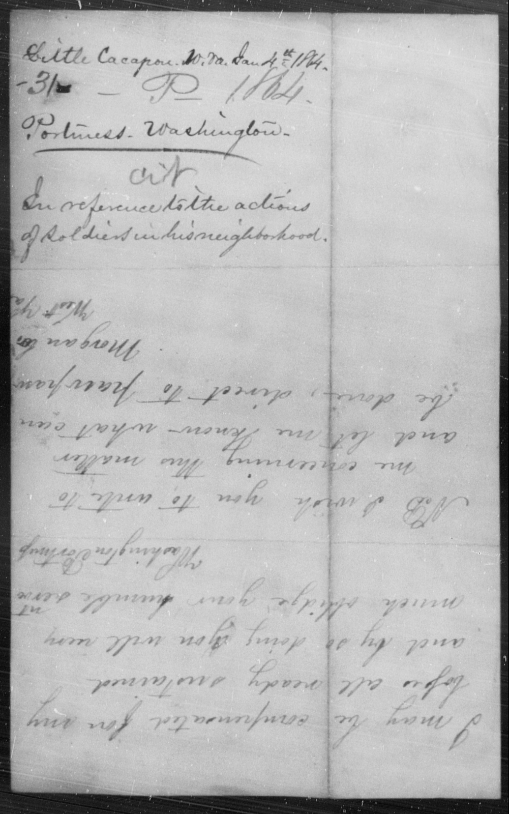 Portmess, Washington - State: West Virginia - Year: 1864