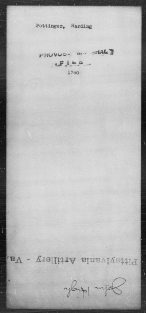 Pottinger, Harding - State: [Blank] - Year: [Blank]
