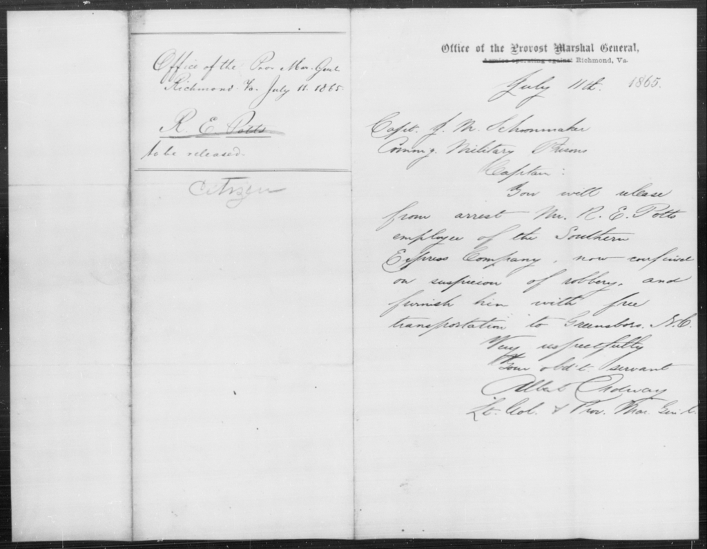 Potts, R E - State: Virginia - Year: 1865