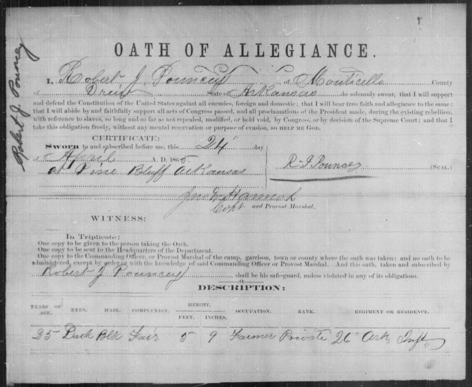 Pouncey, Robert J - State: Arkansas - Year: 1865