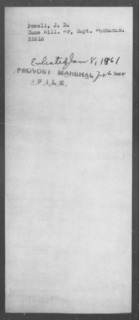 Powell, J D - State: [Blank] - Year: 1861