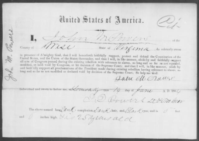 Powers, John M - State: Virginia - Year: 1864
