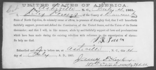 Powers, Riley - State: North Carolina - Year: 1865