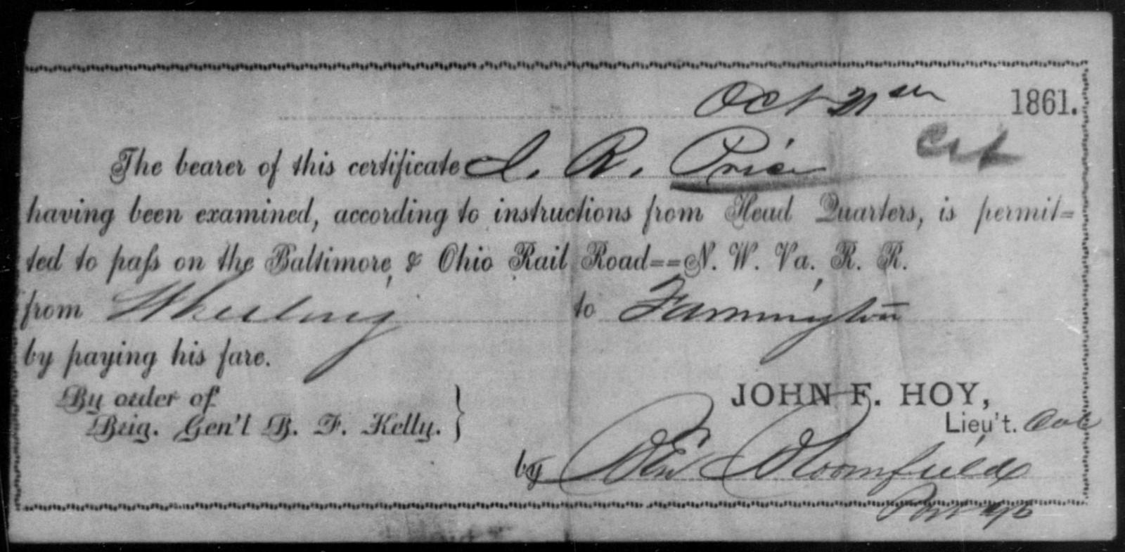 Price, J R - State: [Blank] - Year: 1861