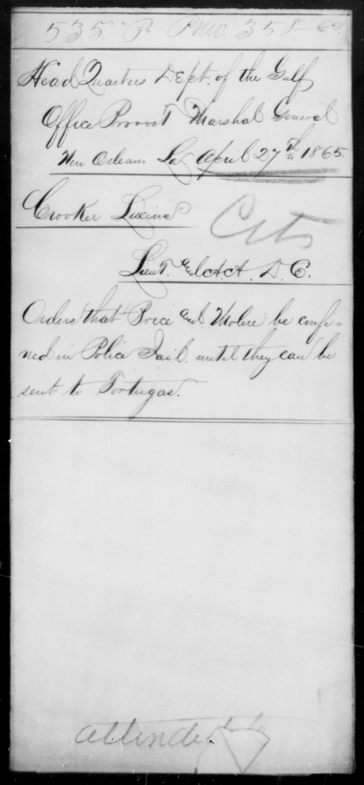 Price, John - State: Louisiana - Year: 1865