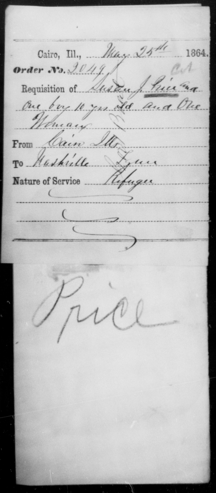 Price, Susan J - State: Illinois - Year: 1864