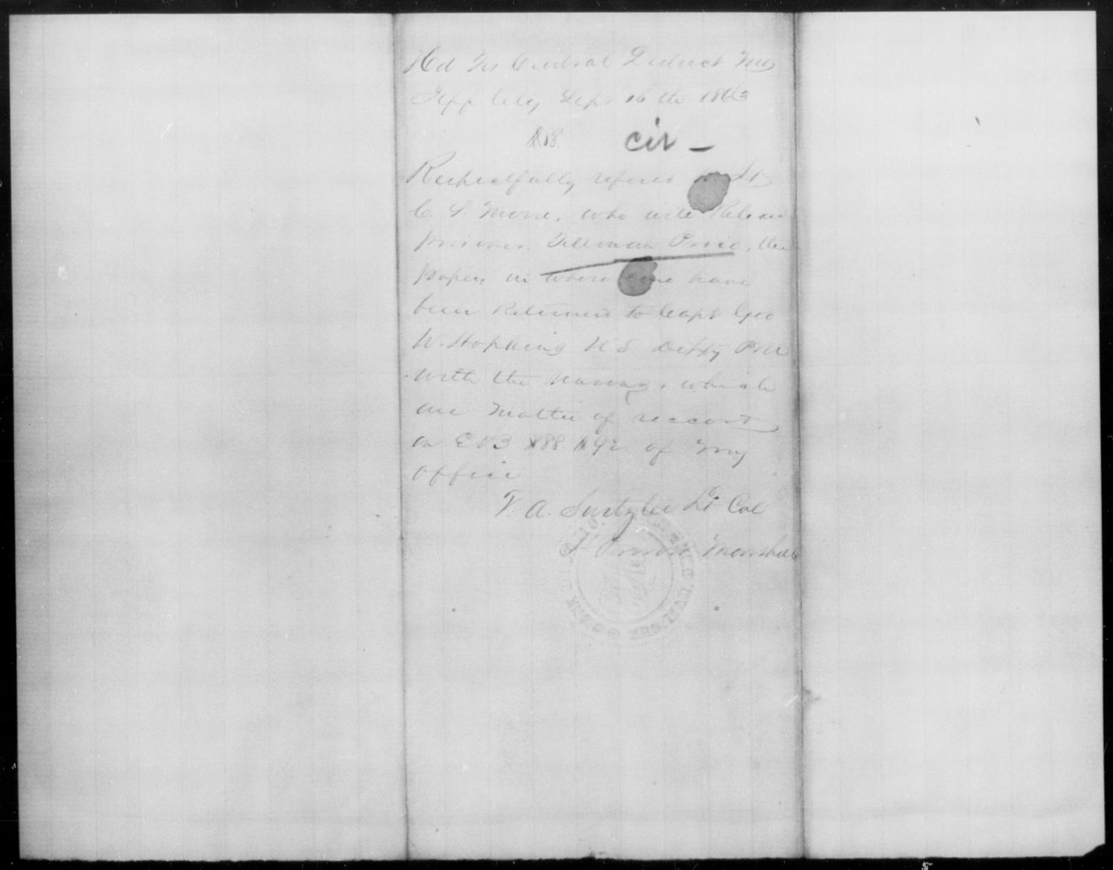 Price, Tellman - State: Missouri - Year: 1863