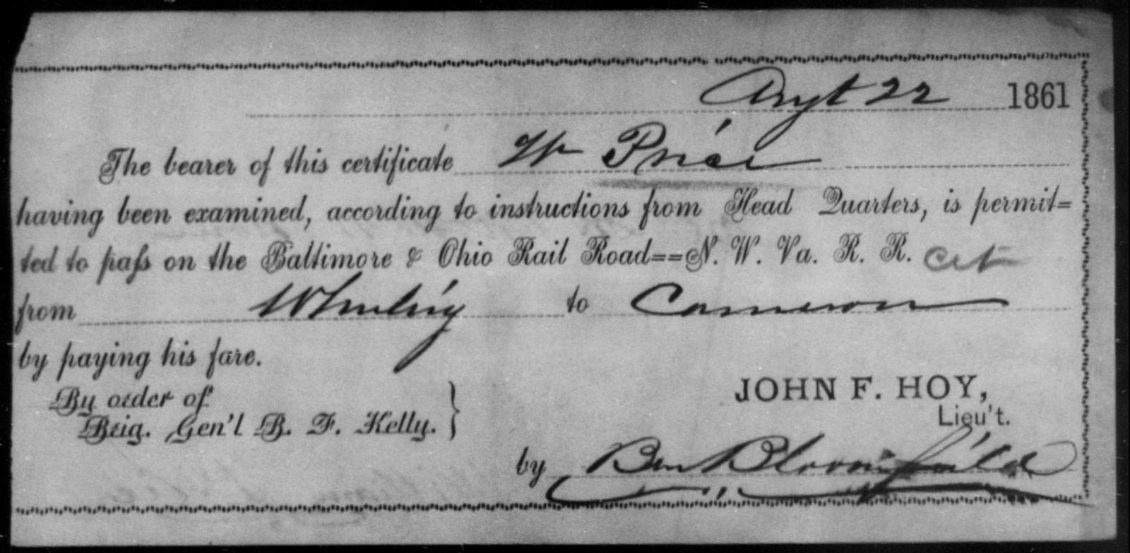 Price, W - State: Ohio - Year: 1861