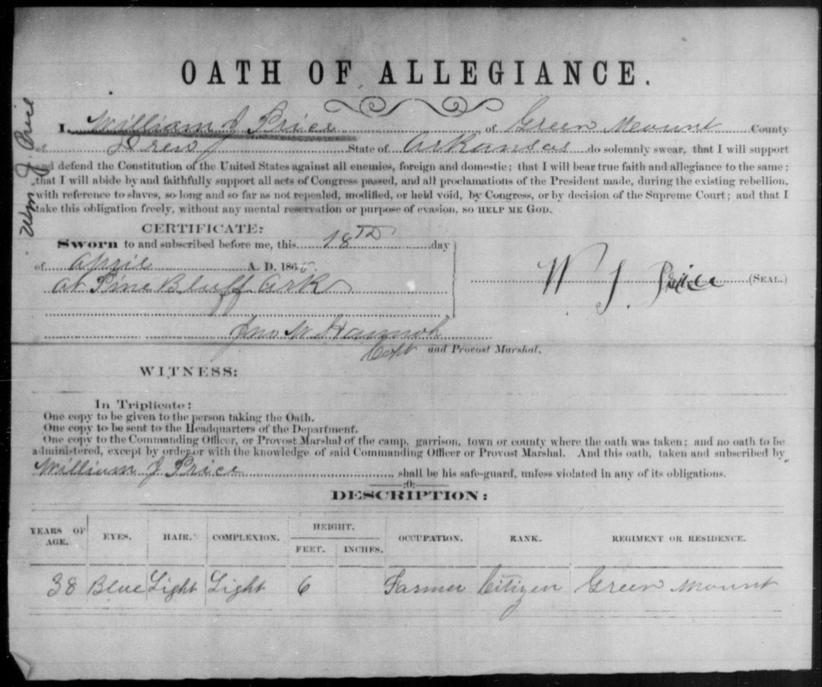 Price, William J - State: Arkansas - Year: 1865