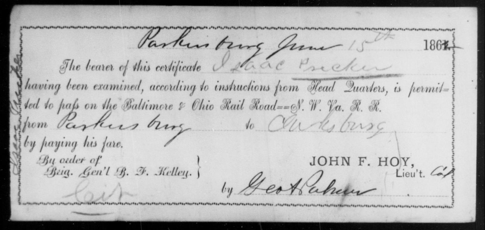 Pricker, Isaac - State: Ohio - Year: 1862
