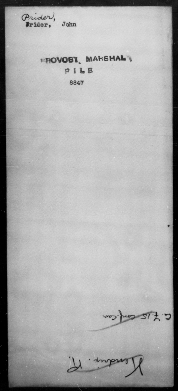 Prider, John - State: [Blank] - Year: [Blank]