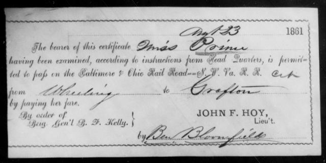 Prim, [Blank] - State: Ohio - Year: 1861