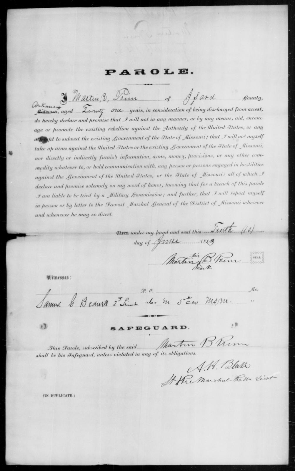 Prim, Martin E - State: Arkansas - Year: 1863