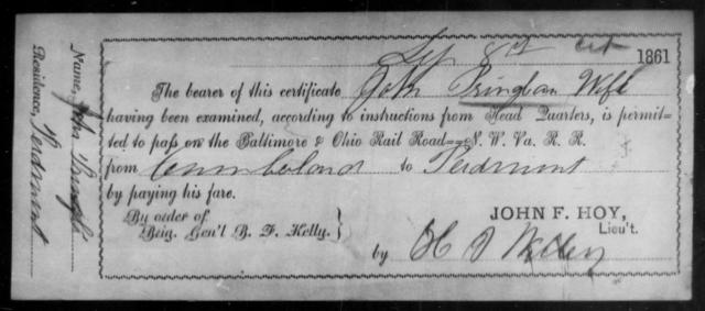 Pringle, John - State: Ohio - Year: 1861