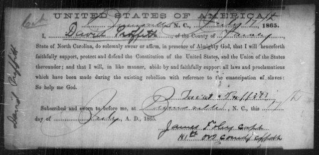 Proffitt, David - State: North Carolina - Year: 1865
