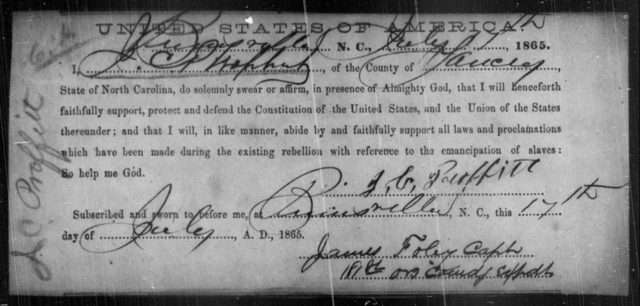 Proffitt, J C - State: North Carolina - Year: 1865