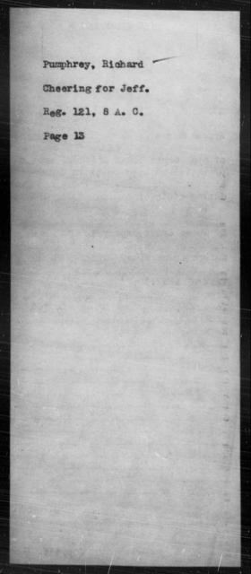 Pumphrey, Richard - State: [Blank] - Year: [Blank]