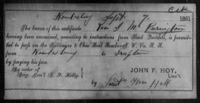 Purington, J M - State: Ohio - Year: 1861