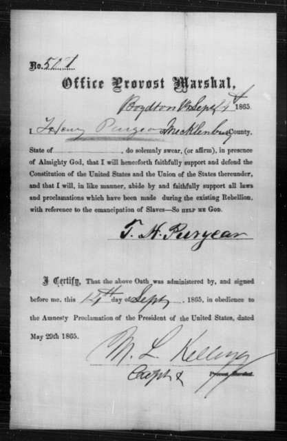 Puryear, Henry - State: Virginia - Year: 1865