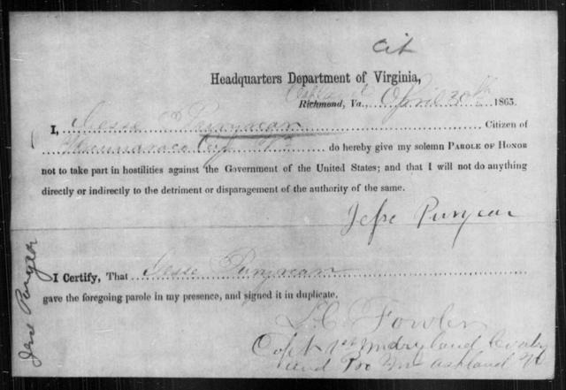 Puryear, Jesse - State: Virginia - Year: 1865