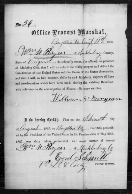 Puryear, William N - State: Virginia - Year: 1865