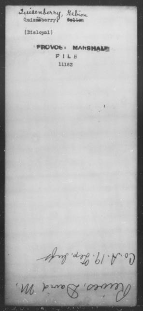Quisenberry, Gebion - State: [Blank] - Year: [Blank]
