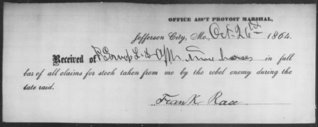 Race, Frank - State: Missouri - Year: 1864