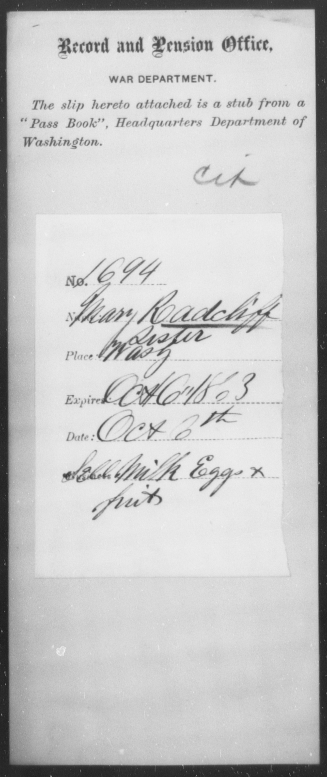 Radcliff, Mary - State: District of Columbia - Year: 1863