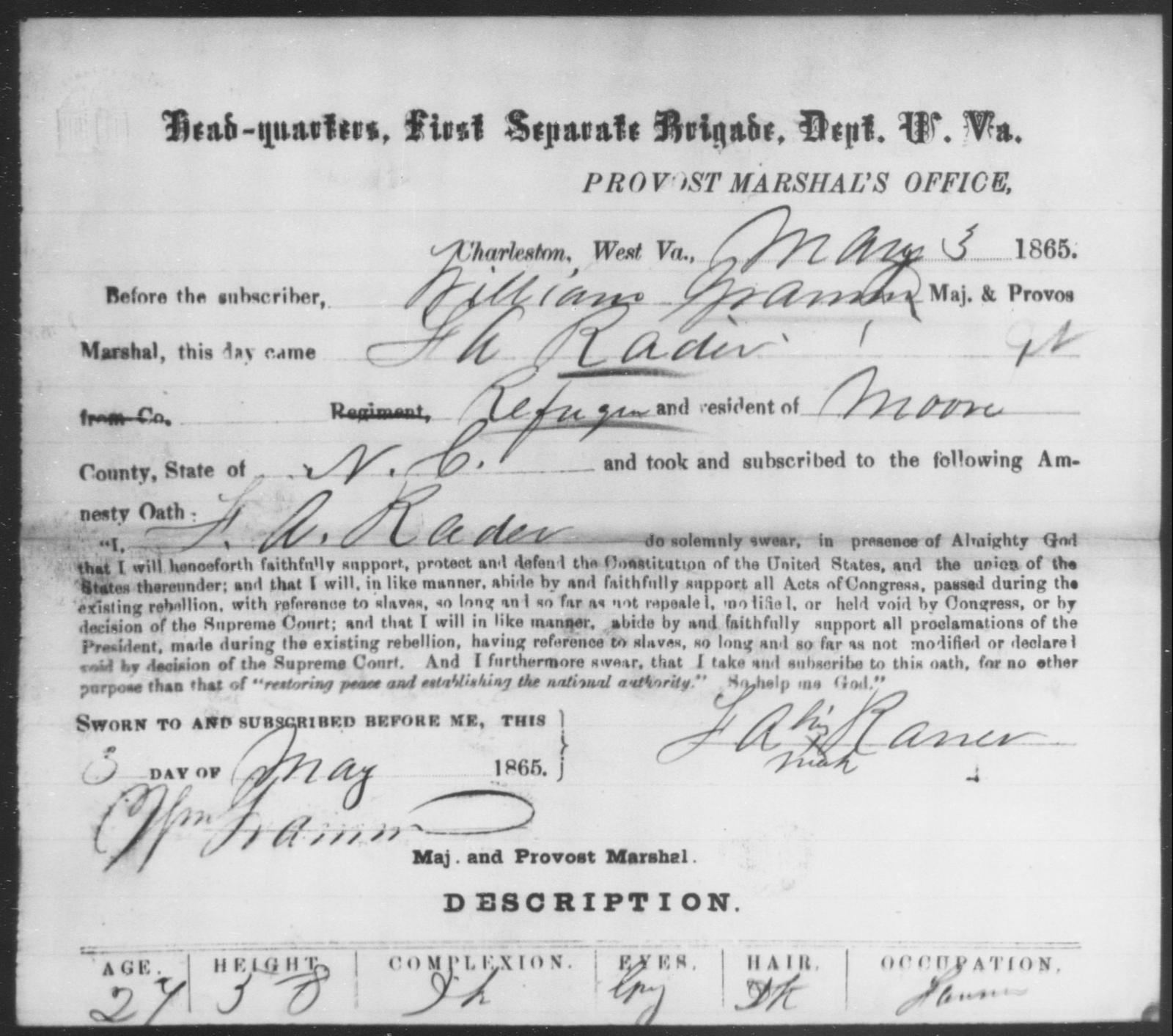 Rader, F A - State: Virginia - Year: 1865