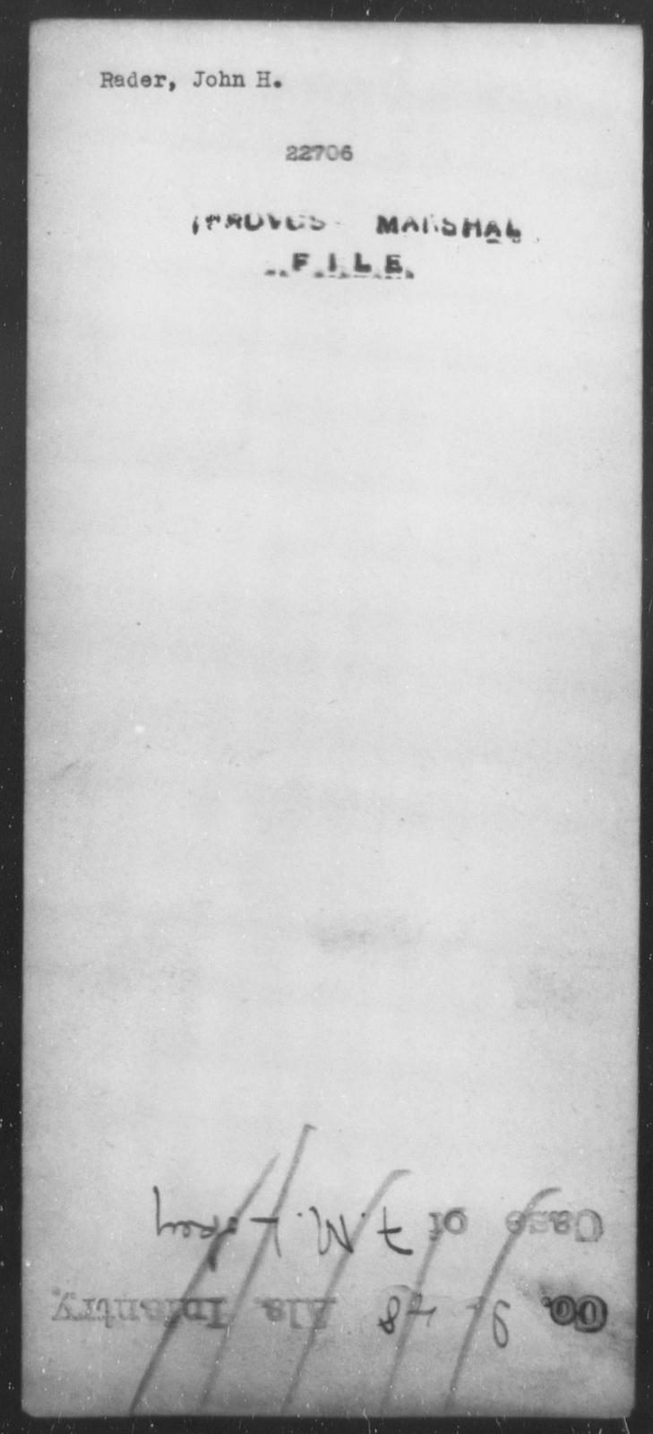 Rader, John H - State: [Blank] - Year: [Blank]
