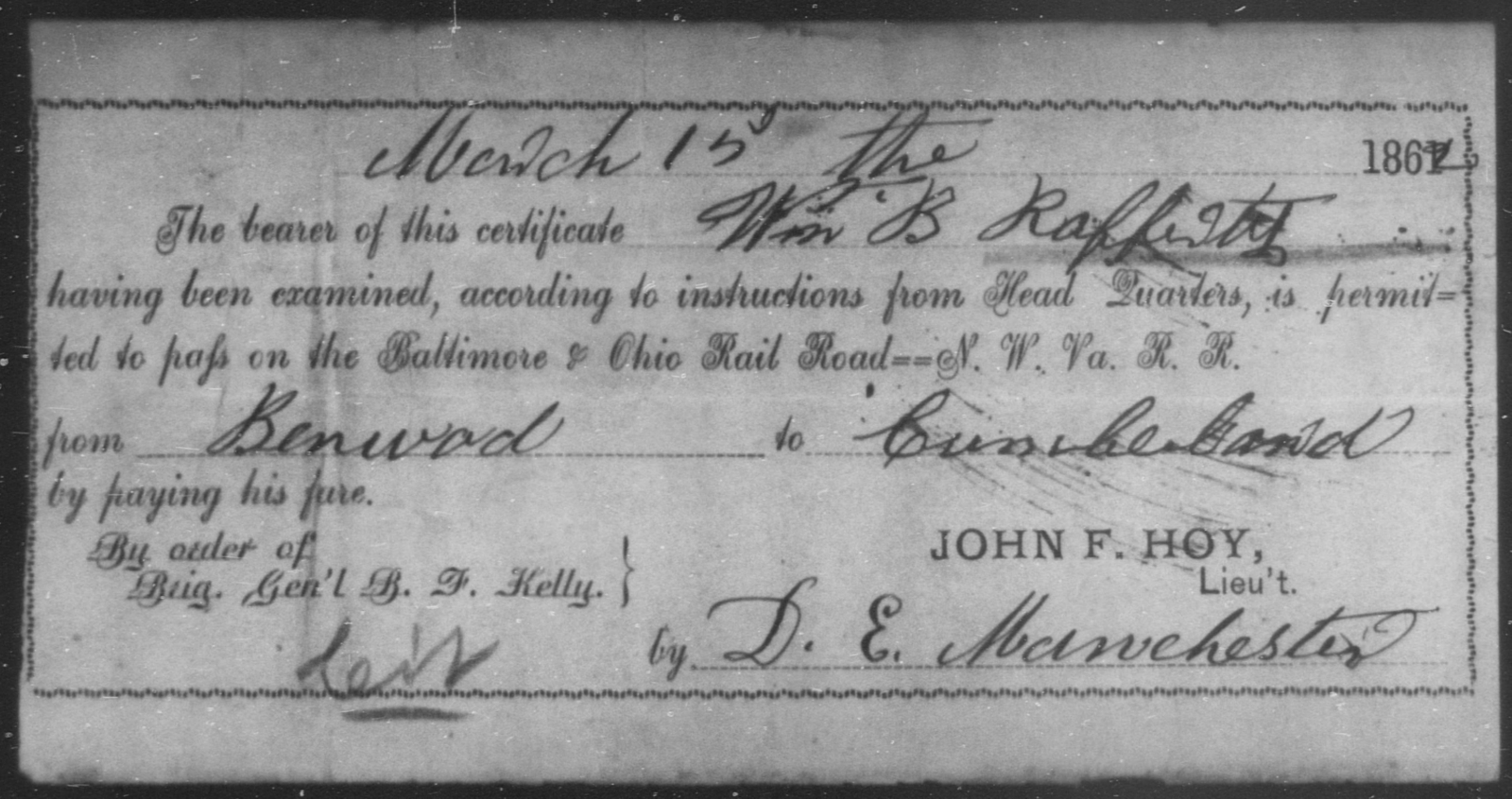 Rafferty, Wm B - State: [Blank] - Year: 1862