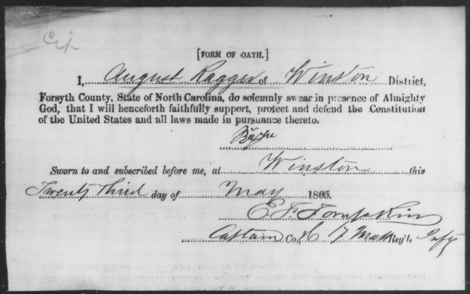 Ragger, August - State: North Carolina - Year: 1865