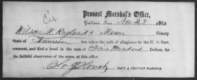 Ragland, Wilson M - State: Tennessee - Year: 1863