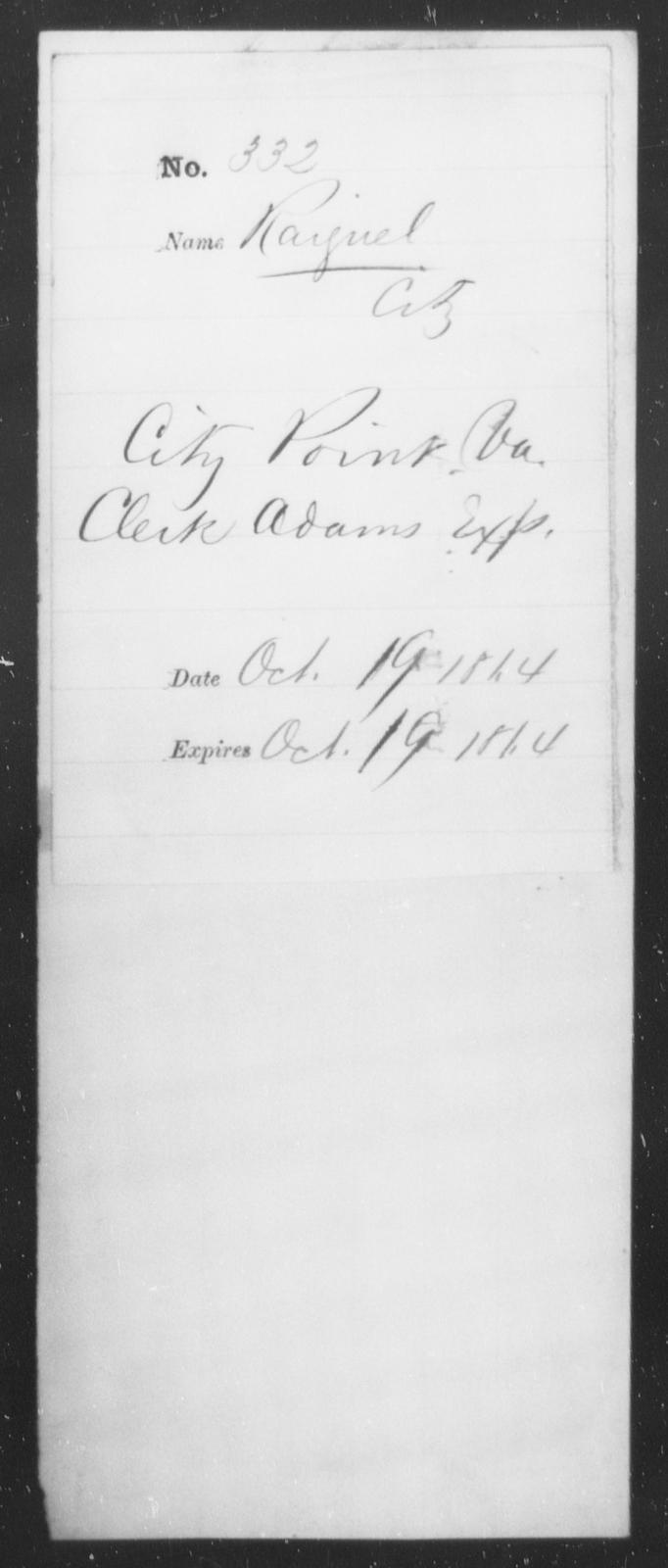 Raiguel, [Blank] - State: Virginia - Year: 1864