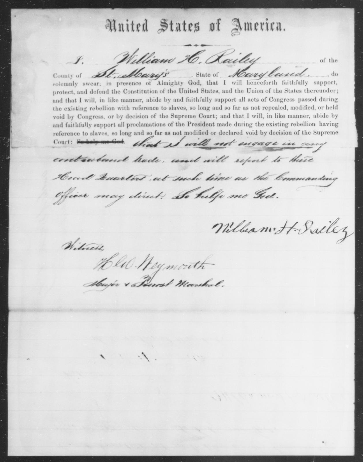 Railey, William H - State: Maryland - Year: 1864