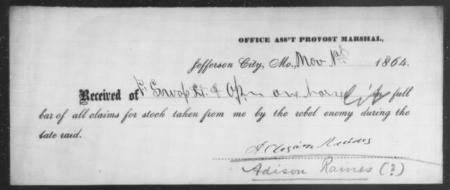 Raines, Adison - State: Missouri - Year: 1864