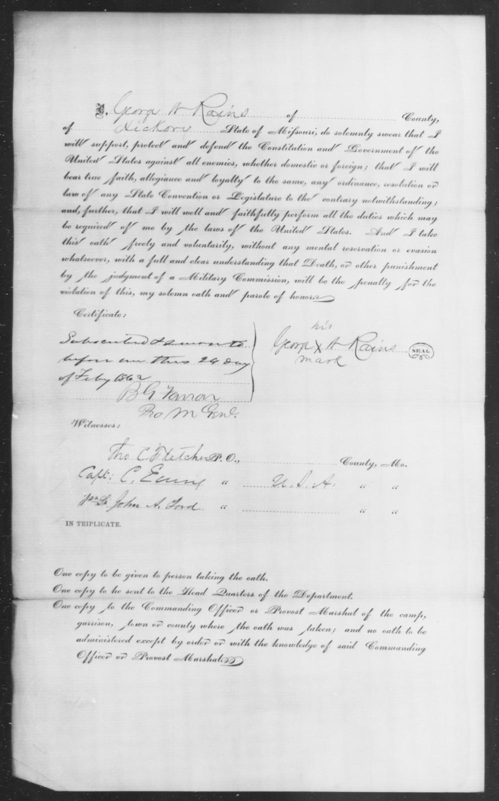Raines, George W - State: Missouri - Year: 1862